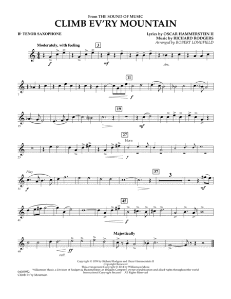 Climb Ev'ry Mountain (from The Sound of Music) - Bb Tenor Saxophone
