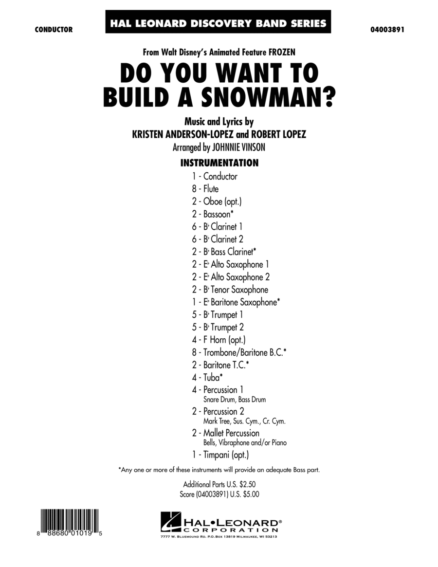 Do You Want to Build a Snowman? (from Frozen) - Conductor Score (Full Score)