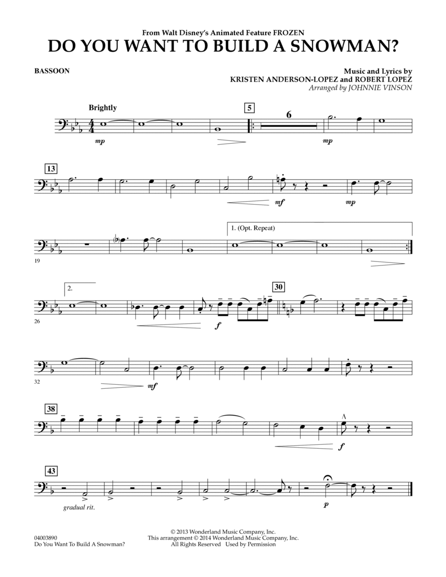 Do You Want to Build a Snowman? (from Frozen) - Bassoon