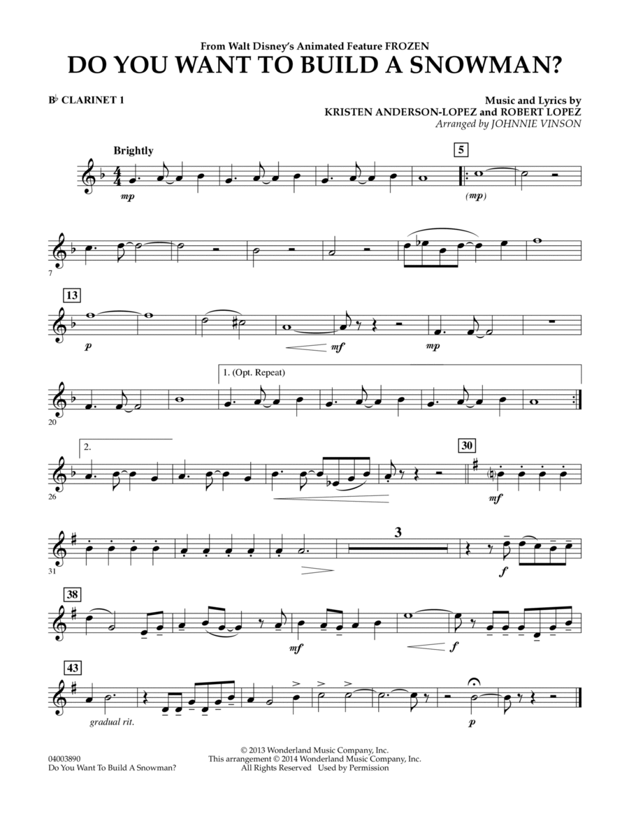 Download Do You Want To Build A Snowman? (from Frozen ... Frozen Sheet Music Clarinet
