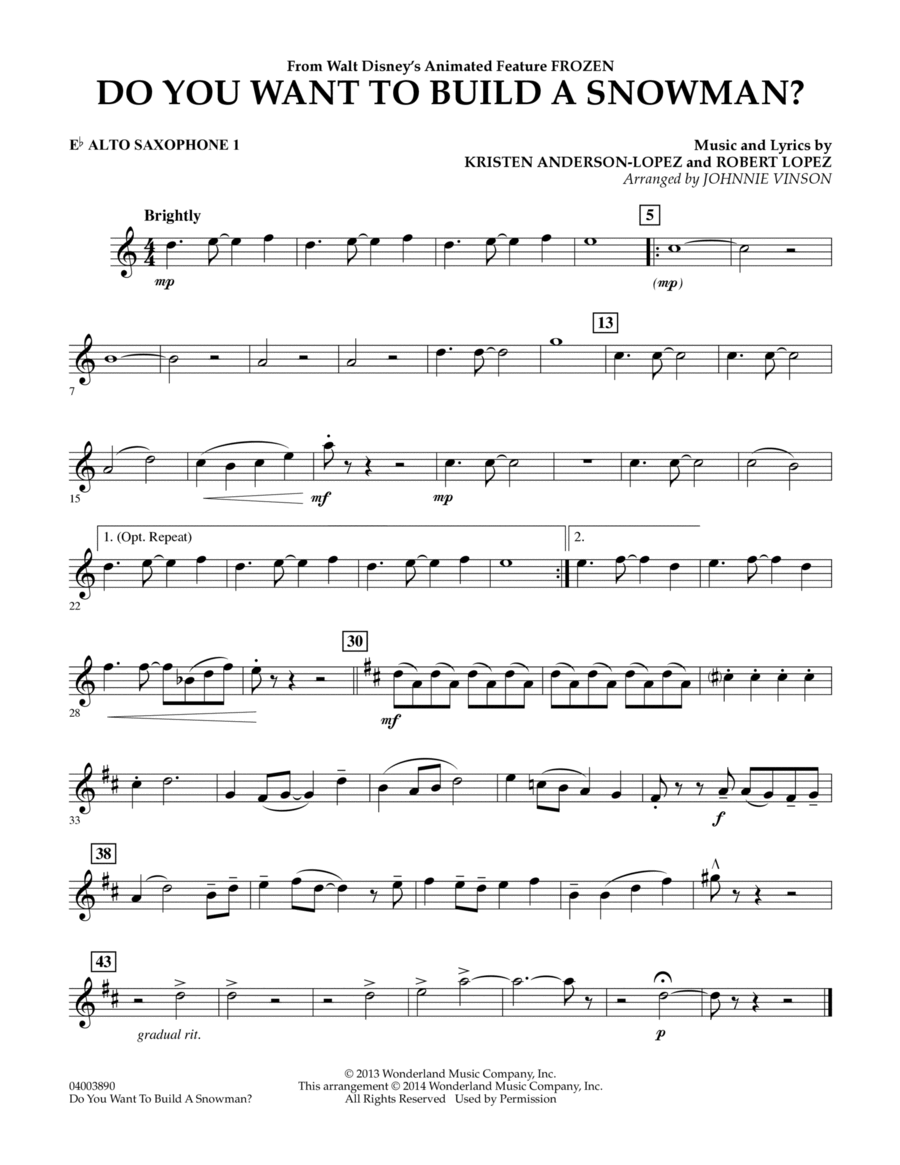 Do You Want to Build a Snowman? (from Frozen) - Eb Alto Saxophone 1