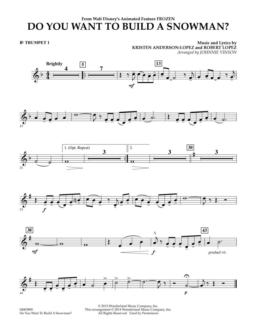 Do You Want to Build a Snowman? (from Frozen) - Bb Trumpet 1