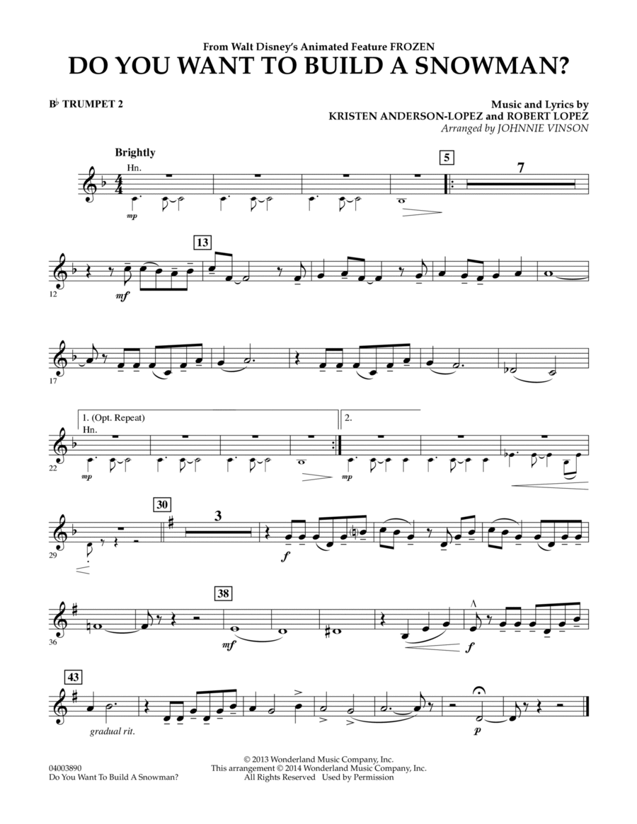 Do You Want to Build a Snowman? (from Frozen) - Bb Trumpet 2