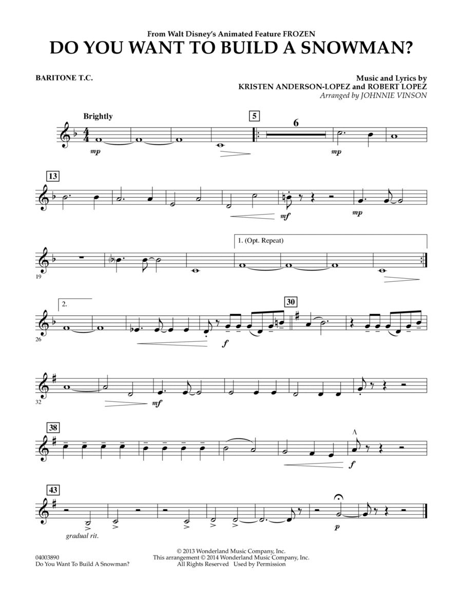 Do You Want to Build a Snowman? (from Frozen) - Baritone T.C.