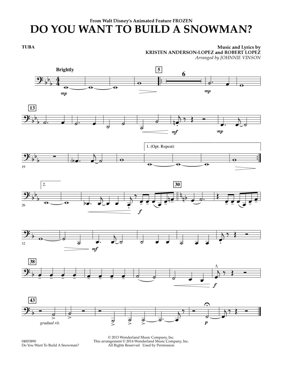 Do You Want to Build a Snowman? (from Frozen) - Tuba