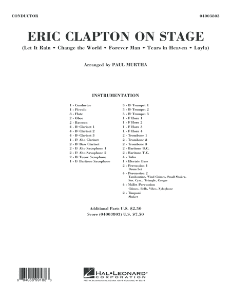 Eric Clapton on Stage - Conductor Score (Full Score)