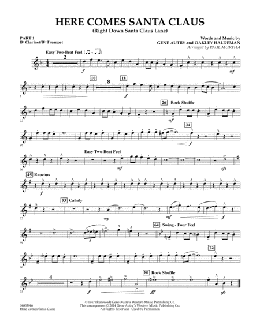 Here Comes Santa Claus (Right Down Santa Claus Lane) - Pt.1 - Bb Clarinet/Bb Trumpet