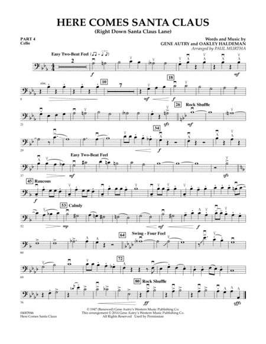 Here Comes Santa Claus (Right Down Santa Claus Lane) - Pt.4 - Cello