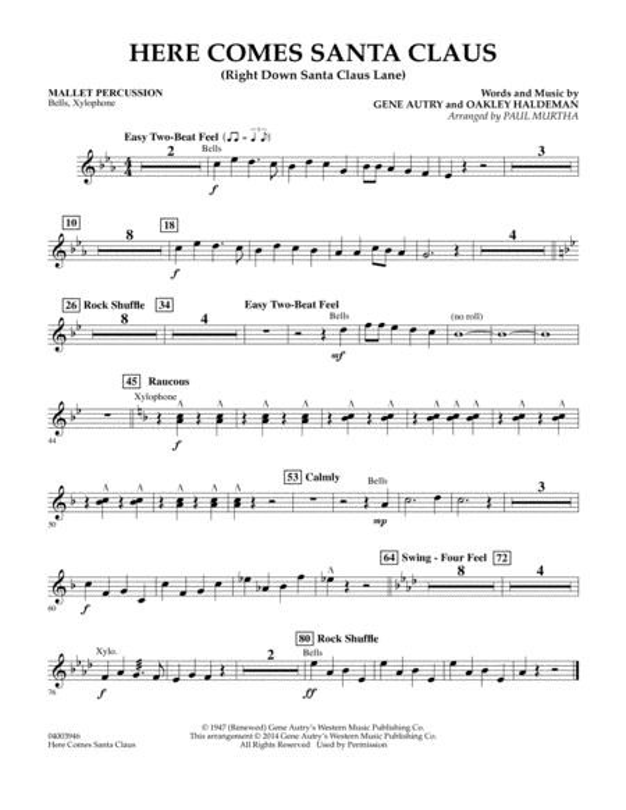 Here Comes Santa Claus (Right Down Santa Claus Lane) - Mallet Percussion