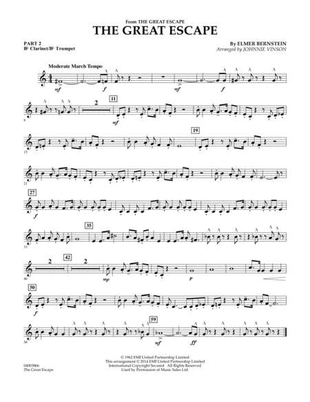 The Great Escape (March) - Pt.2 - Bb Clarinet/Bb Trumpet