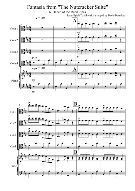 Dance of the Reed Pipes (Fantasia from Nutcracker) for Viola Quartet