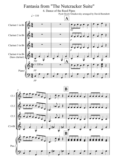 Dance of the Reed Pipes (Fantasia from Nutcracker) for Clarinet Quartet