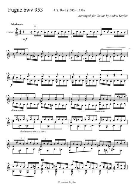 Fugue bwv 953,by J.S. Bach, arranged for classical guitar