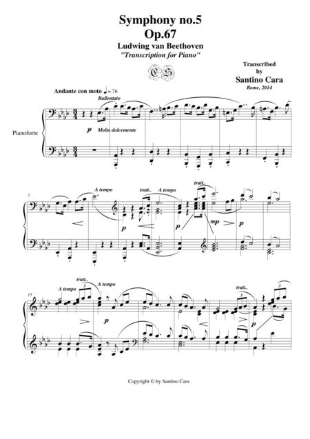 L.van Beethoven - Symphony no.5 Op.67 for piano – 2nd mov.  Andante con moto