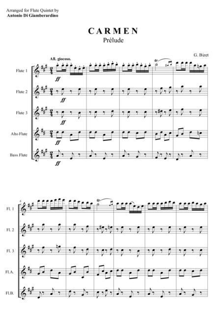 CARMEN - PRELUDE -  Flute Quintet