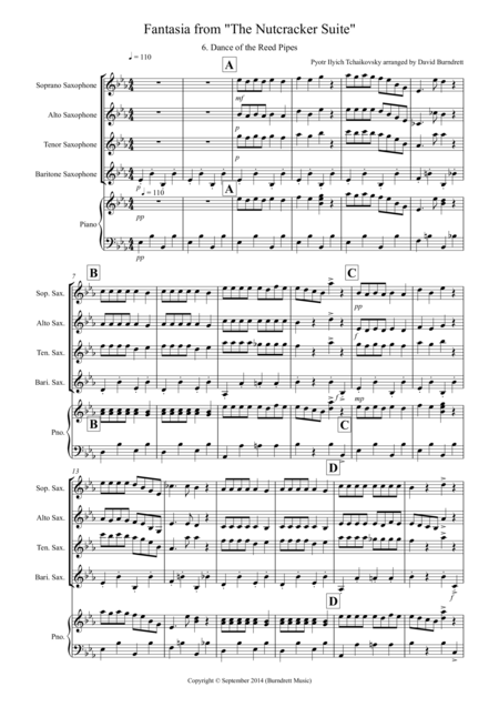 Dance of the Reed Pipes (Fantasia from Nutcracker) for Saxophone Quartet