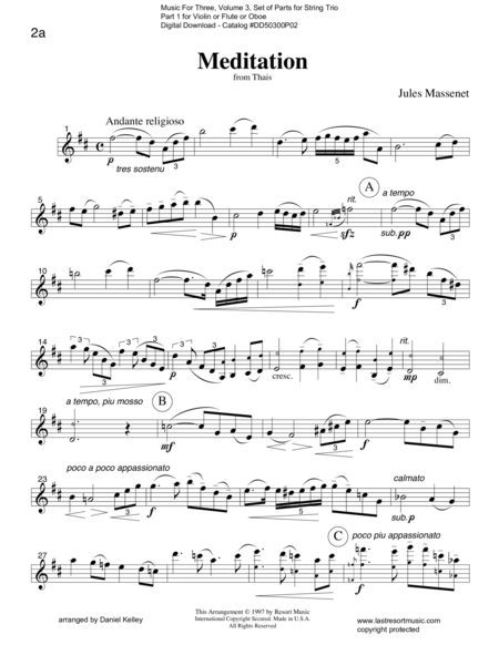 Meditation from Thais for String Trio (or Wind Trio)