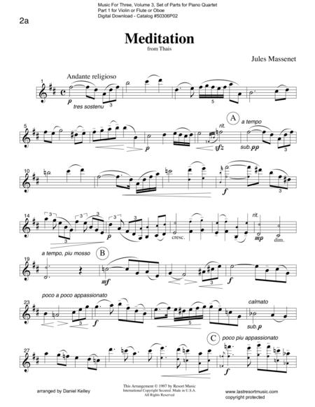 Meditation from Thais for Piano Quartet