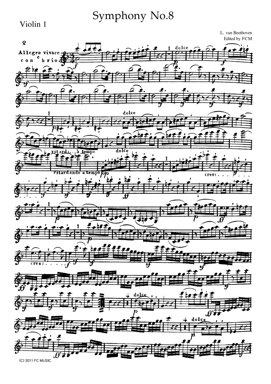 Beethoven Symphony No.8 all mvts. for String Quintet, CB092