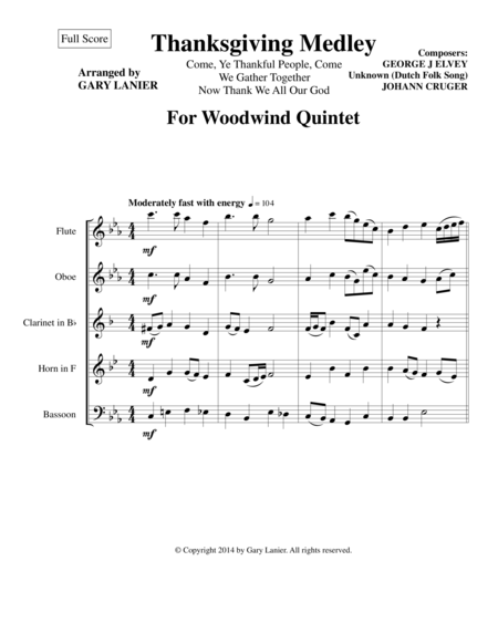 THANKSGIVING MEDLEY (Woodwind Quintet Score and Instrument Parts)