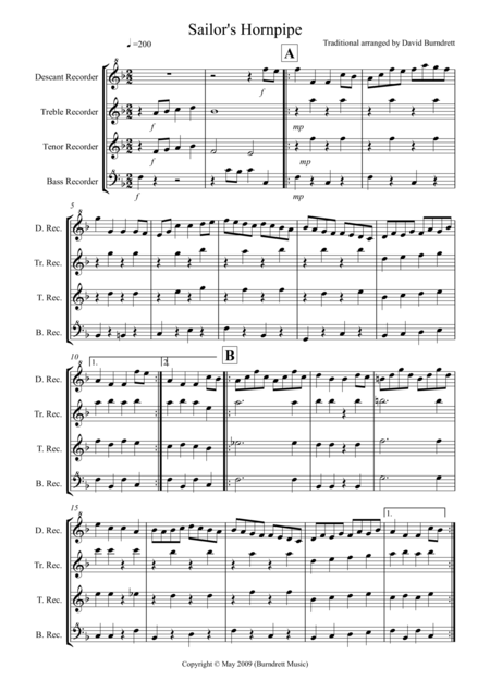Sailor's Hornpipe for Recorder Quartet