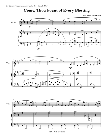 Come, Thou Fount of Every Blessing (arranged for solo instrument and piano by Rick Robertson)