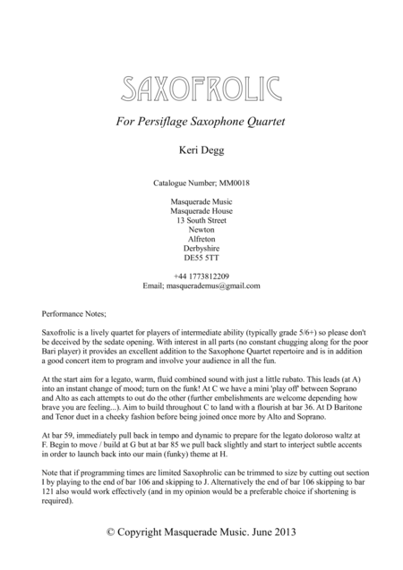 Saxofrolic (SATB Saxophone Quartet)