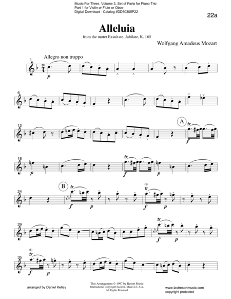 Alleluia from Exsultate, Jubilate K. 165 for Piano Trio