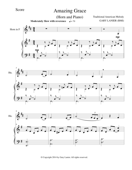 AMAZING GRACE (Horn Piano and Horn Part)