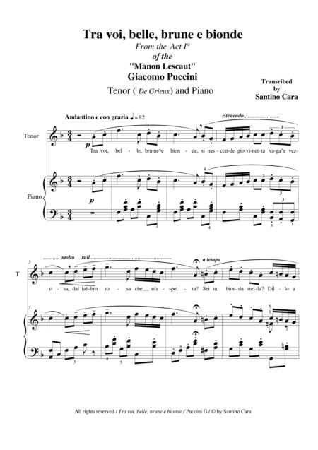 Puccini - Manon Lescaut (Act 1) Tra voi, belle, brune e bionde - Tenor and Piano