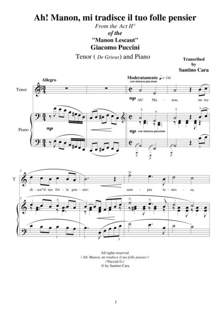 Puccini G - Manon Lescaut (Act 2) Ah! Manon, mi tradisce il tuo folle pensier - Tenor and Piano