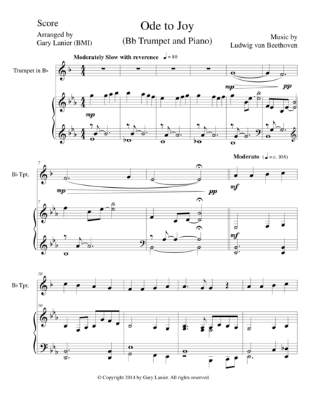 ODE TO JOY (Bb Trumpet Piano and Trumpet Part) Joyful, Joyful, We Adore Thee