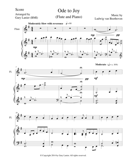 ODE TO JOY (Flute Piano and Flute Part) Joyful, Joyful, We Adore Thee