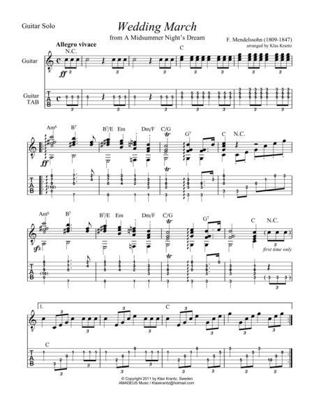 Wedding March for guitar solo (+TAB)