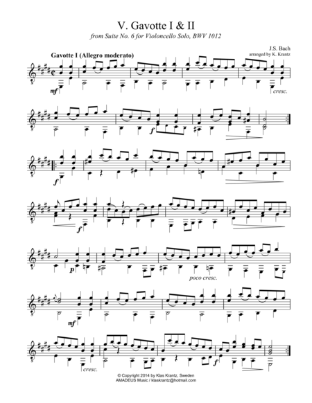 Gavotte 1 & 2 BWV 1012 for guitar solo