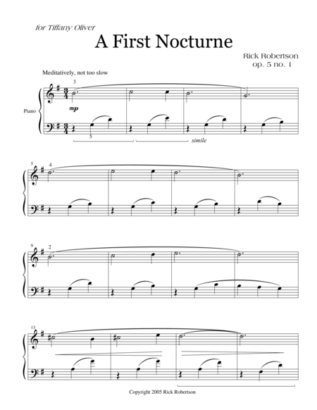 Two Nocturnes for Piano (Late Elementary level)