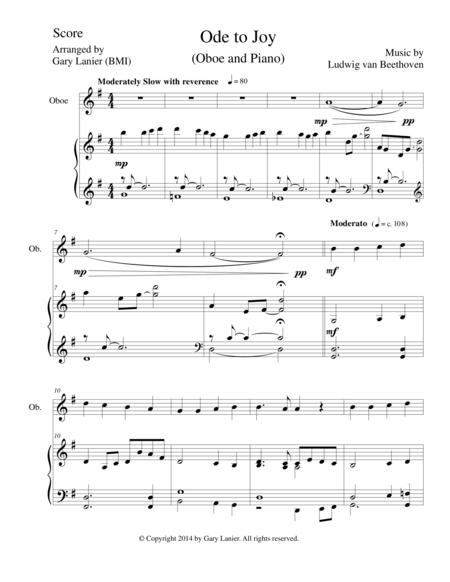 ODE TO JOY (Oboe Piano and OboePart) Joyful, Joyful, We Adore Thee
