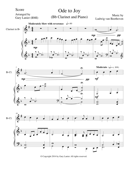 ODE TO JOY (Bb Clarinet Piano and Clarinet Part) Joyful, Joyful, We Adore Thee