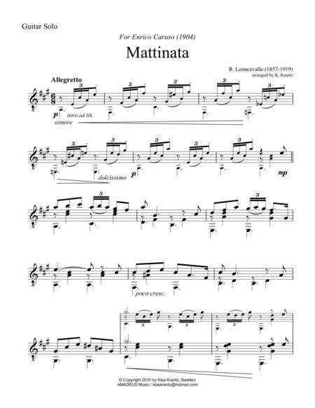 Mattinata for guitar solo