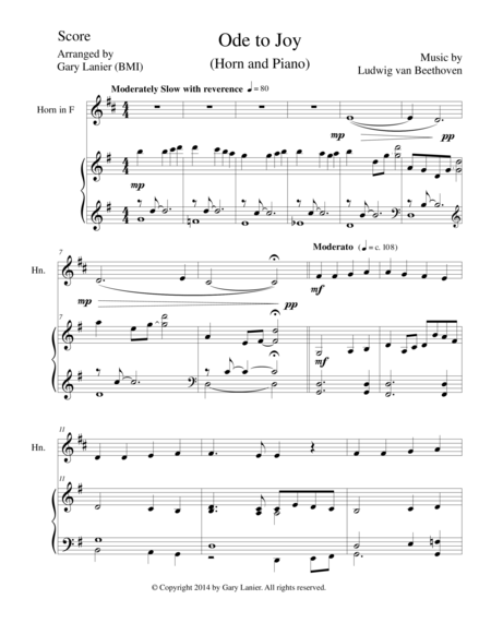 ODE TO JOY (French Horn Piano and Horn Part) Joyful, Joyful, We Adore Thee