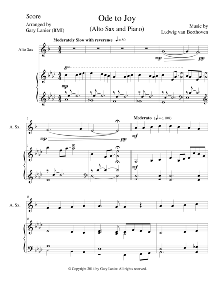 ODE TO JOY (Alto Sax Piano and Sax Part) Joyful, Joyful, We Adore Thee