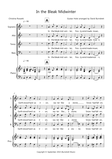 In the Bleak Midwinter for Choir (SATB) and Optional Piano