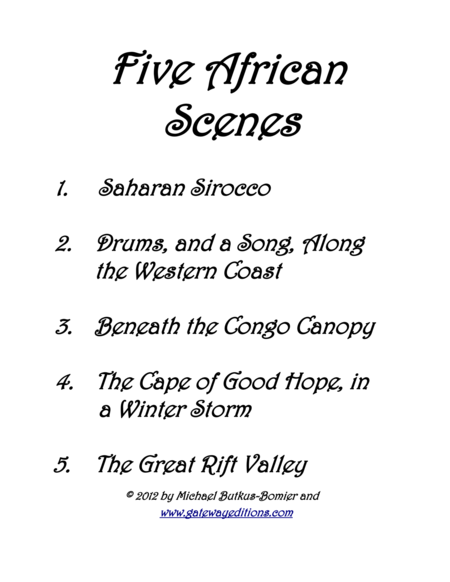 Five African Scenes for Piano Solo