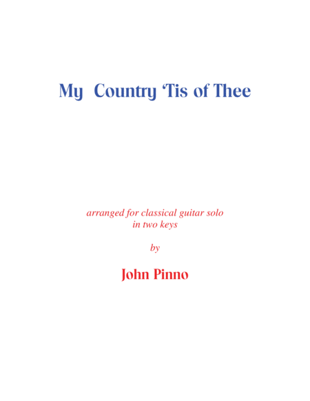 My Country Tis of Thee (solo classical guitar)