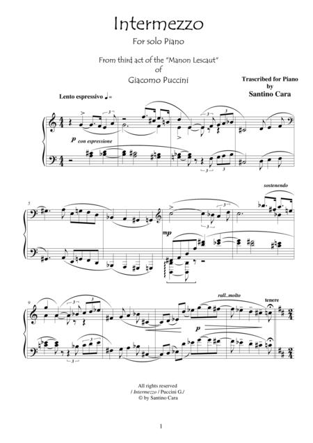 Puccini - Manon Lescaut (Act3) Intermezzo - Solo Piano