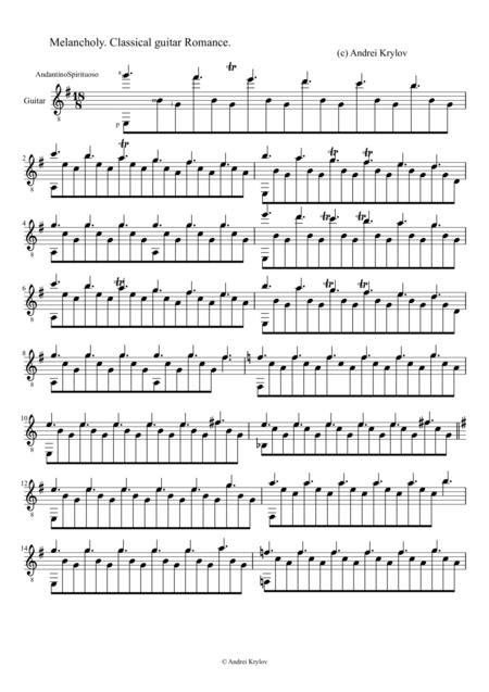 Melancholy, Classical guitar romance, music by Andrei Krylov
