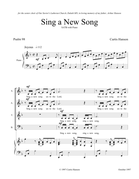 Sing a New Song (SATB)