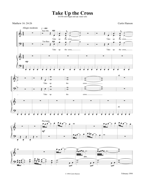 Take Up the Cross (SATB)