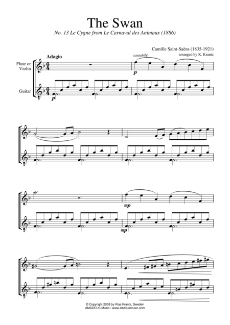 The Swan (F Major) for violin (flute) and easy guitar