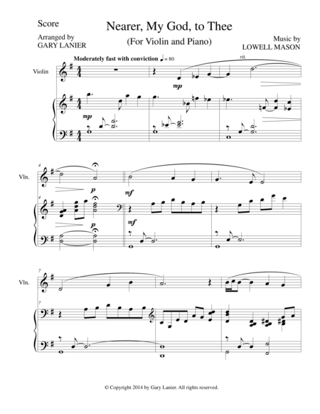 NEARER, MY GOD, TO THEE (Violin Piano and Violin Part)